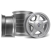 Mustang 5 Lug Pony Wheel & Ford Licensed Center Cap Kit  - 17x9 - Silver (79-93)