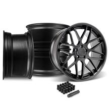 Mustang Downforce Wheel & Lug Nut Kit - 20x8.5/10 Matte Black (15-17)