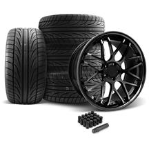 Mustang Downforce Wheel & Tire Kit - 20x8.5/10 Gloss Black (05-14)