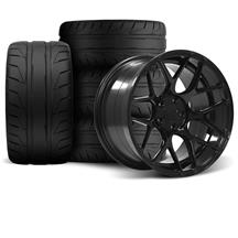 Mustang Rovos Pretoria Wheel Kit 18X9/10.5 W/ Nitto NT05 Tires Gloss Black (94-04)