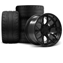 Mustang Rovos Pretoria Wheel Kit 18X9/10.5 W/ Nitto NT05 Tires Satin Black (94-04)