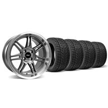 Mustang Anniversary Staggered Wheel & Tire Kit - 17x9/10 Anthracite  (79-93)
