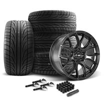 Mustang SVE Drift Wheel & Tire Kit 19x9.5  - Flat Black - Ohtsu Tires (15-19)