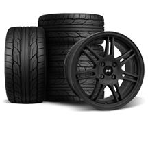 Mustang SVE Anniversary Staggered Wheel & Tire Kit - 17x9/10  - Flat Black - NT555 G2 Tires (79-...
