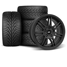 Mustang SVE Anniversary Staggered Wheel & Tire Kit - 17x9/10 Flat Black   (79-93)