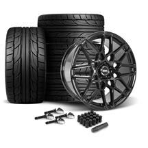 Mustang SVE S500 Wheel & Tire Kit - 20x8.5/10  - Gloss Black - NT555 G2 Tires (15-17)