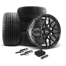 Mustang SVE S500 Wheel & Tire Kit - 20x8.5/10  - Gloss Black - Ohtsu Tires (15-17)
