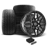 Mustang SVE S500 Wheel & Tire Kit - 20x8.5/10  - Gloss Black - Ohtsu Tires (05-14)