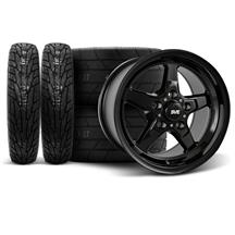 Mustang SVE Drag Wheel & Tire Kit - 17x4.5/15x10  - Gloss Black  (94-04)