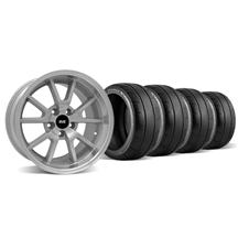Mustang Staggered FR500 Wheel & Tire Kit - 18x9/10 Silver (94-04)