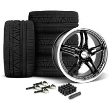 Mustang SVE Series 2 Wheel & Tire Kit - 20x8.5/10 Black w/ Machined Lip (15-17)