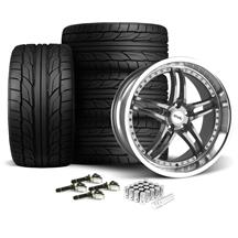 Mustang SVE Series 2 Wheel & Tire Kit - 20X8.5/10 Gun Metal w/ Machined Lip (15-17)