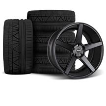 Mustang KMC 685 District Wheel & Tire Kit - 20x8.5/10.5  Satin Black (05-14)
