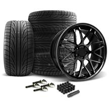 Mustang Downforce Wheel & Tire Kit - 20x8.5/10 Gloss Black (15-17)
