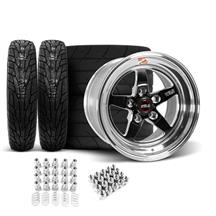 Mustang Weld RT-S Wheel & Tire Kit - 17x5/15x10 Black (94-04)
