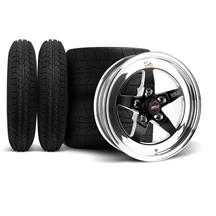 Mustang Weld 5-Lug RT-S S71 Wheel & Tire Kit - 15x4/10  - Black (79-93)