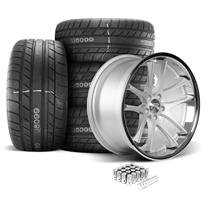 Mustang Rovos Cape Town Wheel & Tire Kit- 20x8.5/10  - Satin Silver - M/T Street Comp Tires (05-...