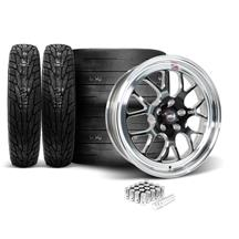 Mustang Weld RT-S S77 Wheel & Tire Kit - 18x5/17x10  - Black w/ Polished Lip (15-19)