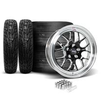 Mustang Weld RT-S S77 Wheel & Tire Kit - 17x5/10  - Black w/ Polished Lip (05-14)