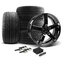 Mustang DF5 Wheel & Tire Kit - 20x8.5/10 Piano Black (15-17)
