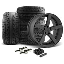 Mustang DF5 Wheel & Tire Kit - 20x8.5/10 Flat Black (15-17)