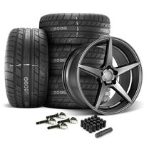 Mustang Velgen Classic5 Wheel & Tire Kit - 20x9/10.5  - Gunmetal - M/T Street Comp Tires (15-18)
