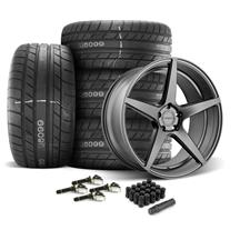 Mustang Velgen Classic5 Wheel & Tire Kit - 20x9/10.5  - Gunmetal - M/T Street Comp Tires (15-17)