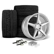Mustang Velgen Classic5 Wheel & Tire Kit - 19x8.5/10  - Matte Silver - Nitto Invo Tires (15-18)