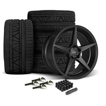 Mustang Velgen Classic5 Wheel & Tire Kit - 19x8.5/10  - Satin Black - Nitto Invo Tires (15-18)