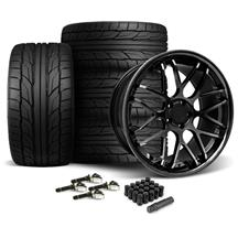 Mustang Downforce Wheel & Tire Kit - 20x8.5/10 Gloss Black (15-18)