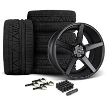 Mustang KMC 685 District Wheel & Tire Kit - 20x8.5/10.5 Satin Black (15-17)