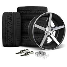 Mustang KMC 685 District Wheel & Tire Kit - 20x8.5/10.5 Black w/ Machined Face (15-16)