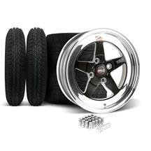 Mustang Weld RT-S Wheel & Tire Kit - 15x4/15x8 Black (79-93)