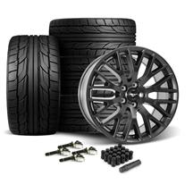 Mustang Performance Pack Wheel & Tire Kit - 19x9/9.5  - Satin Black - Nitto G2 Tires (15-18)