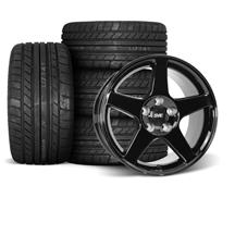 Mustang SVE 03 Cobra Wheel & Tire Kit - 17x9/10.5  - Black - M/T Tires (94-04)