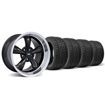 Mustang Staggered Bullitt Wheel & Tire Kit - 17x9/10.5 Black W/ Machined Lip (94-04)