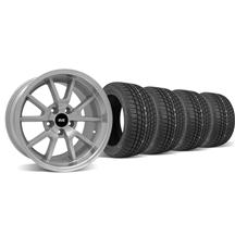 Mustang Staggered FR500 Wheel & Tire Kit - 17x9/10.5 Silver (94-04)