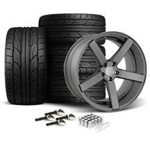 Mustang DF5 Wheel & Tire Kit - 20x8.5/10 Matte Gun Metal (15-17)