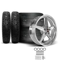 Mustang Race Star Drag Star Wheel & Tire Kit - 18x5/17x10.5  - Polished - MT ET Street R Tires (...