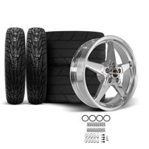 Mustang Race Star Drag Star Wheel & Tire Kit - 18x5/17x10.5  - Polished - MT ET Street S/S Tires...