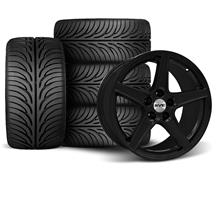 Mustang Staggered Saleen Wheel & Tire Kit - 18x9/10 Black (94-04)