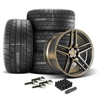 Mustang Velgen Split5 Wheel & Tire Kit - 20x9/10.5  - Satin Bronze - MT Street Comp Tires (15-18...