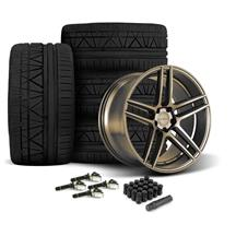 Mustang Velgen Split5 Wheel & Tire Kit - 20x9/10.5  - Satin Bronze - Nitto Invo Tires (15-18)