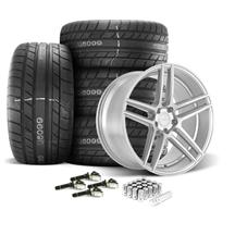 Mustang Velgen Split5 Wheel & Tire Kit - 20x9/10.5  - Matte Silver - MT Street Comp Tires (15-19...