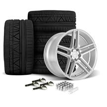Mustang Velgen Split5 Wheel & Tire Kit - 20x9/10.5  - Matte Silver - Nitto Invo Tires (15-18)
