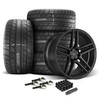 Mustang Velgen Split5 Wheel & Tire Kit - 20x9/10.5  - Satin Black - MT Street Comp Tires (15-18)